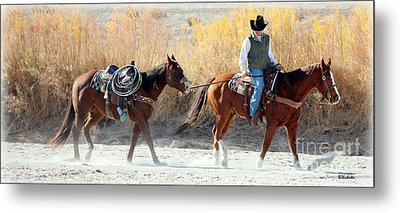 Metal Print featuring the photograph Rio Grande Cowboy by Barbara Chichester