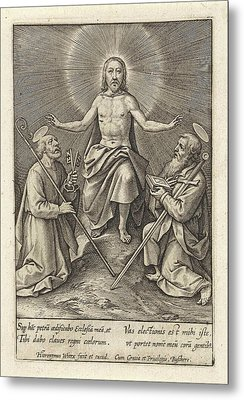 Risen Christ With Peter And Paul, Hieronymus Wierix Metal Print