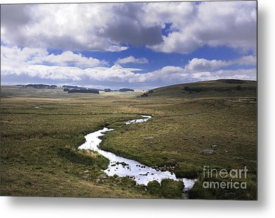 River In A Landscape Metal Print by Bernard Jaubert