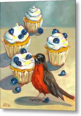 Robin With Blueberry Cupcakes Metal Print by Susan Thomas