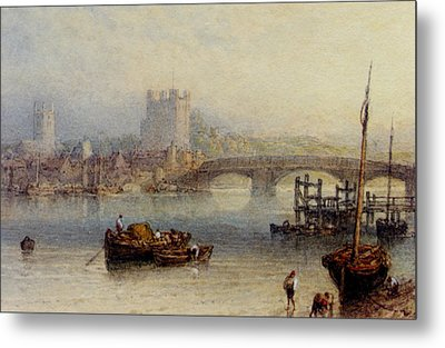 Rochester From The River Metal Print by Myles Birket Foster