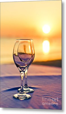 Romantic Sunset Drink With Wine Glass Metal Print by Tuimages