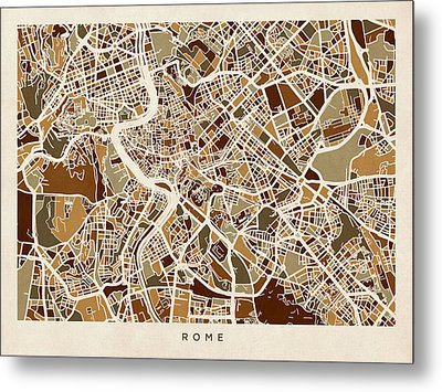 Rome Italy Street Map Metal Print by Michael Tompsett