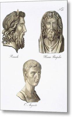 Romulus, Numa Pompilius And Augustus Metal Print