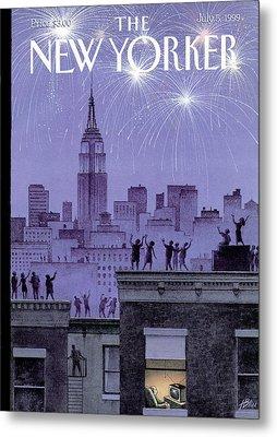 Rooftop Revelers Celebrate New Year's Eve Metal Print