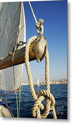 Rope On Sailboat Mast During Navigation Metal Print by Sami Sarkis
