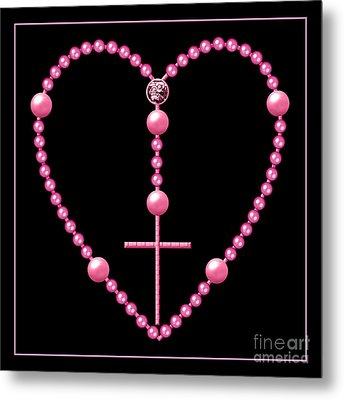 Rosary With Pink And Purple Beads Metal Print by Rose Santuci-Sofranko