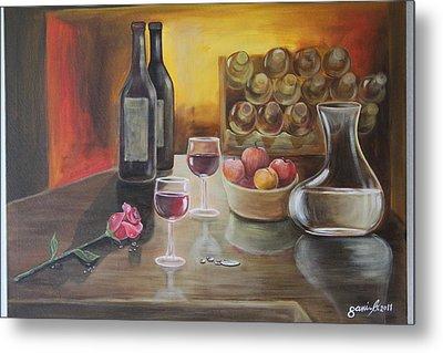 Rose And Wine Metal Print by Gani Banacia
