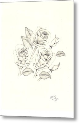 Metal Print featuring the drawing Roses by Patricia Hiltz