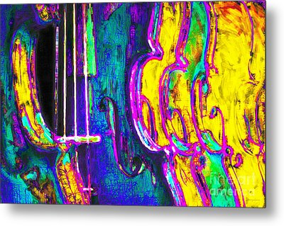 Row Of Violins - 20130129v2 Metal Print by Wingsdomain Art and Photography