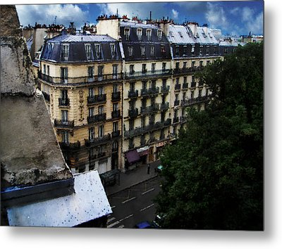 Metal Print featuring the digital art Rue Des Ecoles In Paris France From The 6th Floor Balcony Of The Henri Iv Hotel by David Blank