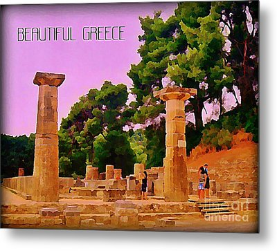 Ruins At Olympus Greece Metal Print by John Malone