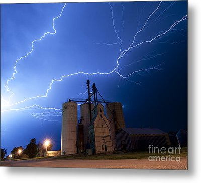 Rural Lightning Storm Metal Print by Art Whitton