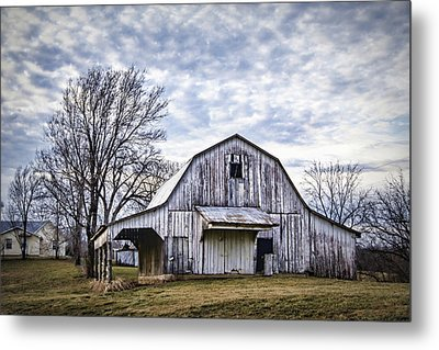 Rustic White Barn Metal Print by Cricket Hackmann