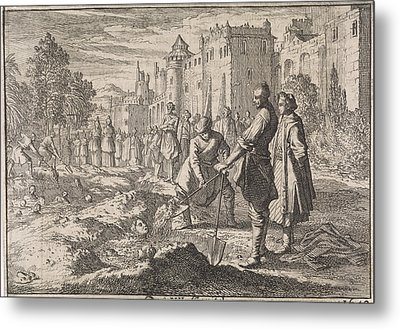 Safi, The Shah Of Persia, Buries Forty Of His Harem Women Metal Print by Johann David Zunnern