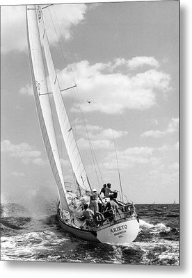 Sailboat Charging The Waves Metal Print