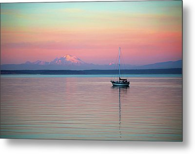 Metal Print featuring the digital art Sailboat In The Sunset. by Timothy Hack