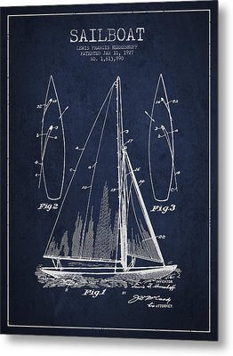 Sailboat Patent Drawing From 1927 Metal Print