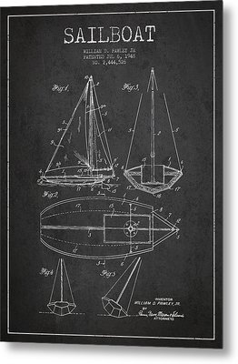 Sailboat Patent Drawing From 1948 Metal Print by Aged Pixel