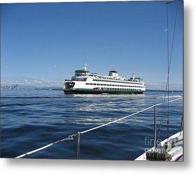 Sailboat Sees Ferryboat Metal Print by Kym Backland
