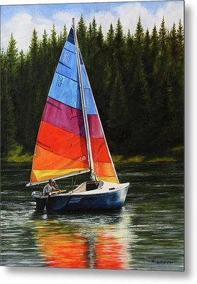 Sailing On Flathead Metal Print