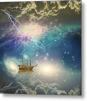Metal Print featuring the digital art Sailing Ship Sails Through The Stars by Bruce Rolff