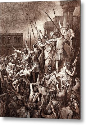 Saint Paul Rescued From The Multitude, By Gustave Dore Metal Print by Litz Collection