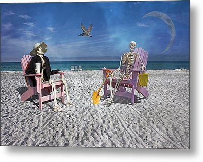 Sam And His Friend Visit Long Boat Key Metal Print by Betsy Knapp