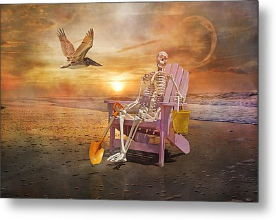 Sam Is Tickled With A Visiting Pelican Metal Print by Betsy Knapp