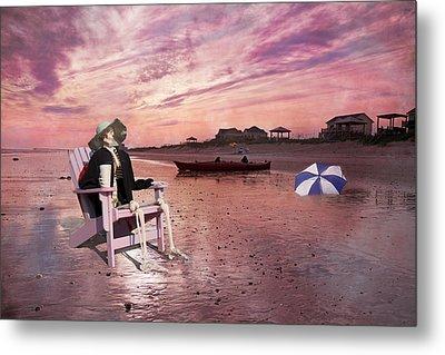 Sam Takes A Break From Kayaking Metal Print by Betsy Knapp