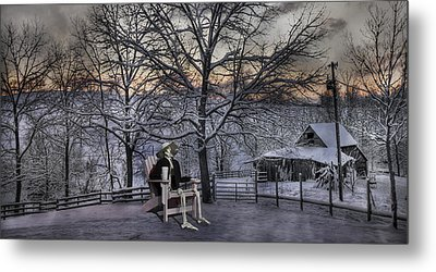 Sam Visits Winter Wonderland Metal Print by Betsy Knapp
