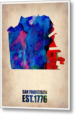 San Francisco Watercolor Map Metal Print by Naxart Studio