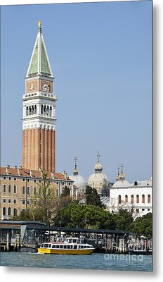 San Marco Bell Tower By Grand Canal Metal Print by Sami Sarkis