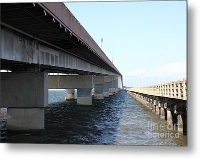 San Mateo Bridge In The California Bay Area 5d21898 Metal Print by Wingsdomain Art and Photography