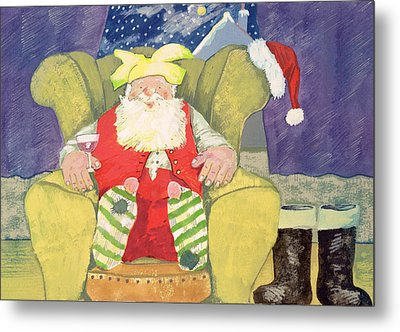 Santa Warming His Toes  Metal Print by David Cooke