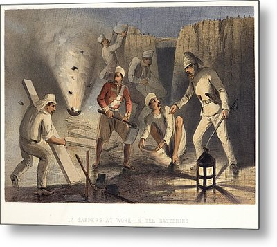 Sappers At Work In The Batteries Metal Print by British Library