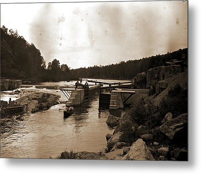 Saranac River Dam And Lock, Adirondack Mtns Metal Print by Litz Collection
