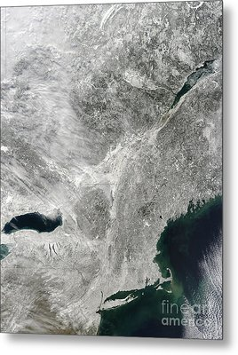 Satellite View Of A Large Noreaster Metal Print by Stocktrek Images