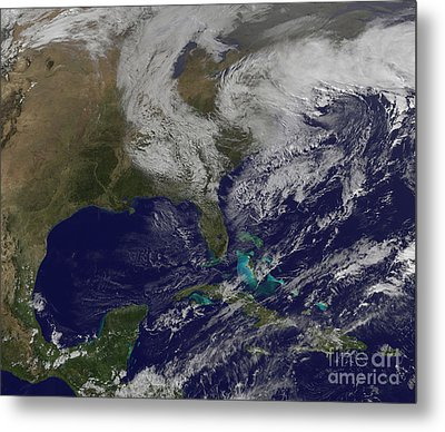 Satellite View Of A Noreaster Storm Metal Print by Stocktrek Images