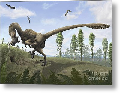 Saurornitholestes Seeks Prey In Burrows Metal Print by Emily Willoughby