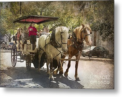 Savannah Carriage Ride Metal Print by Carrie Cranwill