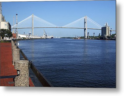 Savannah River Bridge Ga Metal Print by Bob Pardue