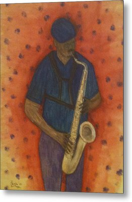 Sax Man Metal Print by Larry Farris