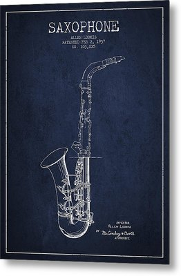 Saxophone Patent Drawing From 1937 - Blue Metal Print