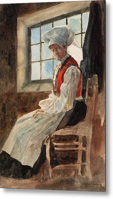 Scandinavian Peasant Woman In An Interior Metal Print