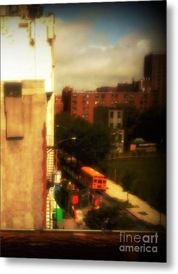 School Bus - New York City Street Scene Metal Print by Miriam Danar