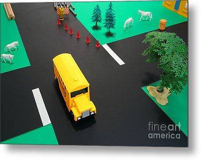 School Bus School Metal Print by Olivier Le Queinec