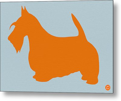 Scottish Terrier Orange Metal Print by Naxart Studio