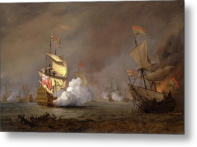Sea Battle Of The Anglo-dutch Wars The Battle Of Lowestoft Metal Print by Litz Collection