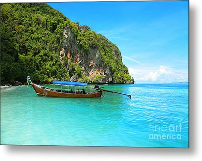 Sea Beautiful And Mountains Metal Print by Boon Mee